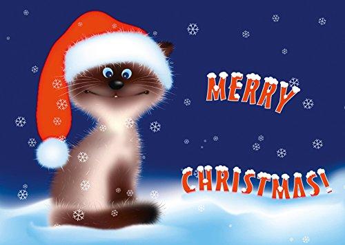 'Divertente gatti Cartoline di Natale di set (10PZ) 'Dolce Natale di gatto–Ideale biglietti di auguri per Natale: per gatto amici o famiglie con bambini
