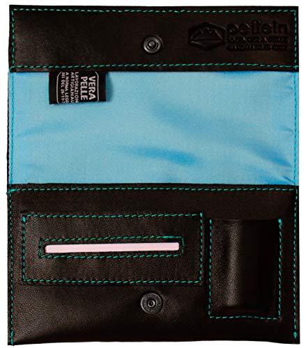 Pellein - Portatabacco in vera pelle Blu Hero - Astuccio porta tabacco, porta filtri, porta cartine e porta accendino. Handmade in Italy