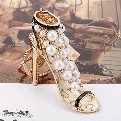 BWMFashion Sexy Crystal Zapatos de tacón AltoRhinestone CharmLlavero Bolso de Mano para Mujer Bolso para niña, 450
