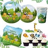 JeVenis Set di 58 Animali della giungla Articoli per feste Jungle Piatti per feste Jungle Tema Articoli per feste di compleanno Jungle Bomboniere Animali della giungla Toppers cupcake