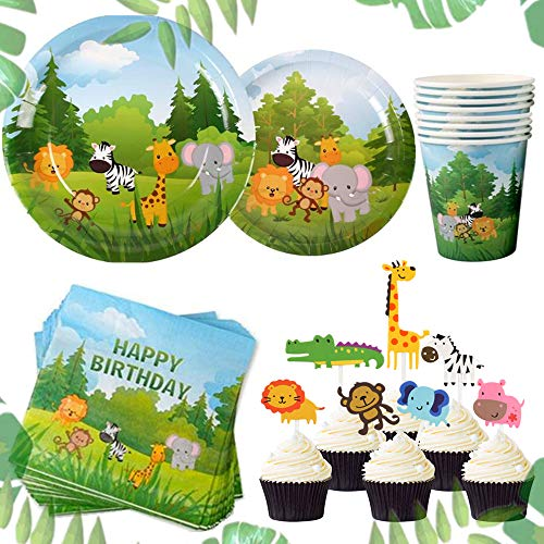 JeVenis Set of 58 Jungle Animals Party Supplies Jungle Party Plates Jungle Theme Birthday Party Supplies Jungle Party Favors Jungle Animals Cupcake Toppers