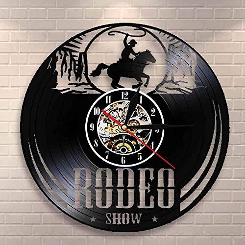 ZYBBYW Freelancer Cowboy Guy Reloj de Pared Disco de Vinilo Reloj de Pared Reloj de Montar Ecuestre Occidental Vintage