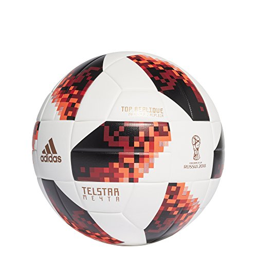 Adidas World Cup Knock out de fútbol, otoño/Invierno, Color White/Solar Red/Black, tamaño 5