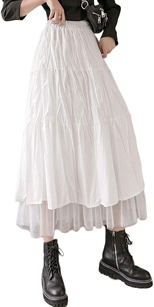 Women Pleated Patchwork Tulle Skirt Elastic High Waist Swing A Line Midi Skirt with Wrinkle