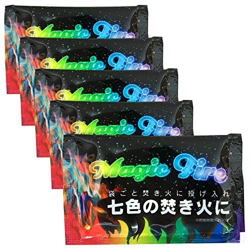 【まとめ買い】 BUNDOK(バンドック) マジック ファイヤ 5個 セット BD-362AM5 焚火 炎 レインボー