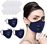 Reusable Face Masks Washable UK Dust Face Mask With Filter for Motorcycle Bicycle Running Cycling and Outdoor Activities 2 PACK C-Over + 10 Activated Carbon Filters (BLUE)