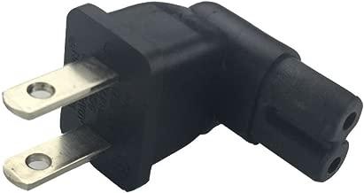 US 2 Prong Right Angle AC power Plug Adapter IEC C7 receptacle to NEMA 1-15P