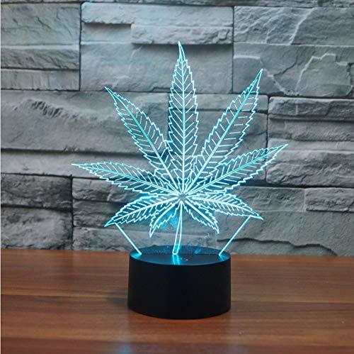 Luz Nocturna Nueva 3D Lámparas De Mesa Led Hoja De Marihuana Lámpara Nocturna Nocturna De Acrílico Colorido Gradiente Atmósfera Lámpara Mejores Regalos