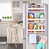 Fridge Side Shelf Refrigerator Spice Storage Rack Wooden Hanging Organizer with Paper Towel Holder, 3 Removable Hooks for Pantry, Cabinet, Kitchen, Narrow Place, White