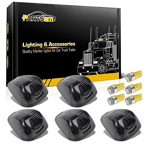 Partsam 5X Smoke Cab Marker Top Roof Light + 5X Amber T10 LED Lights Assembly...