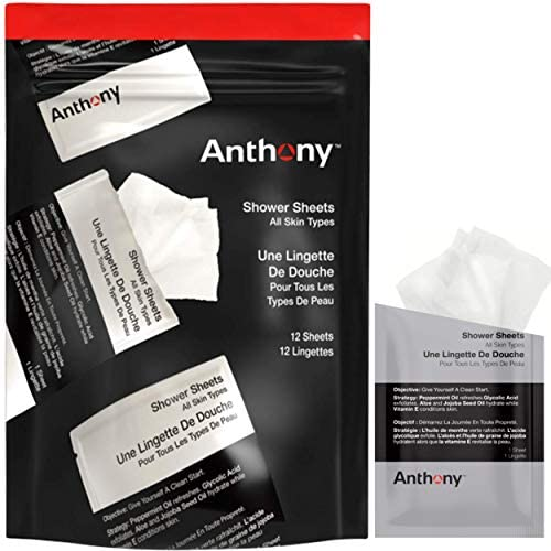 Anthony Shower Sheets 12 Single Pack Sheets Pre Moisurized Sheets Cleanses Deodorizes and Refreshes product image