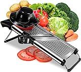 Affettatrice per alimenti a mandolina regolabile, professionale, in acciaio inox, per affettare alimenti, verdure, fritti, fritti, fritti, fritture
