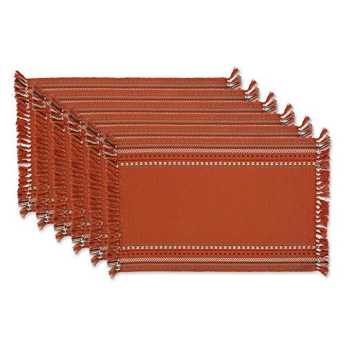 DII Southwest Hacienda Stripe Tabletop Collection, Placemat Set, 13x19, Sedona Sunset 6 Piece