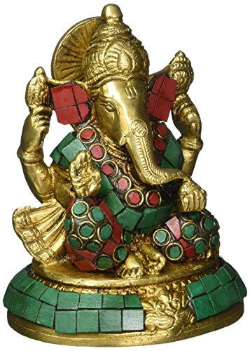 Statue En Laiton Dieu Ganesha Idole D'Art Pierre Colorée Pour Puja À La Maison 12,7 cm