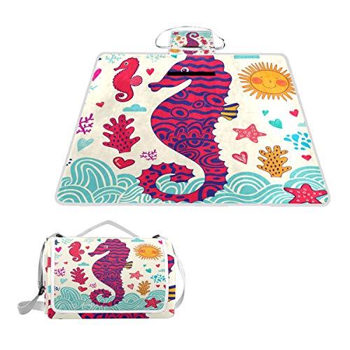LZXO Jumbo-Picknickdecke, faltbar, Seestern, Seepferdchen, groß, 145 x 150 cm, wasserdicht, handliche Matte, kompakt, Camping, Wandern.
