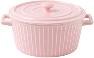 l.e.i. Round Soup Hot Potwith Lid and Handle,Heat-Resistant Ceramic Covered Casserole Earthen Pot for Slow Cooking Braisin...