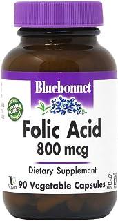 Bluebonnet Folic Acid 800 mcg Vegetable Capsules, 90 Count