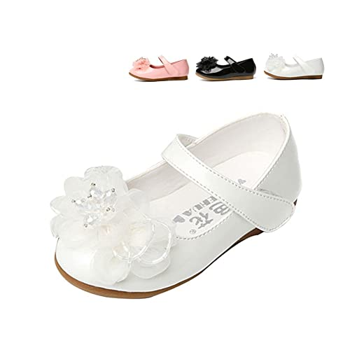 Toddler//Little Kid Rose town Toddler Girls Flower Mary Jane Ballet Flats Shoes with Hook and Loop Strap
