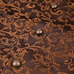 Ro Rox Men's Tailored Gothic Steampunk Brocade Waistcoat - Brown (X-Large) #2