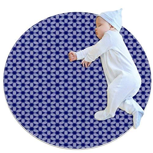 SDASDW Donkerblauw Babytapijt voor kinderdagverblijf Kids Ronde Warme, zachte activiteit Mat Vloerbedekking Tapijten Anti-slip voor Kinderen Slaapkamer, 27.6x27.6IN
