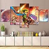 Cuadros de arte de pared impresos 5 paneles Legend Of Zelda Poster Hyrule Warriors juego modular decoración del hogar lienzo pintura habitación de niños 25x40cmx2P, 20x50cmx2P, 20x60cmx1P sin marco