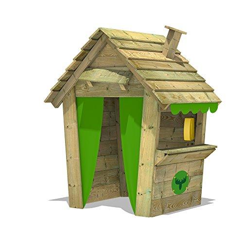 Fatmoose PandaPark Pro XXL Speelhuisje, houten speeltoestel met schoorsteen, raam en toonbank