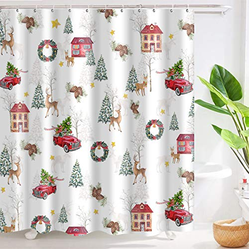 Cyncelia Christmas Decoration Shower Curtain Cute Watercolor Xmas Illustrations with Deer Pine Cones House Snow Winter Festive Atmosphere Waterproof Polyester Fabric Bathroom Curtain Set with Hooks