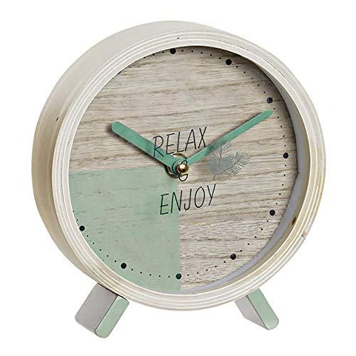Hogar y Mas Reloj de Sobremesa de Cristal Decorativo, Relojes Originales de Mesa. Diseño Relax & Enjoy 15X4,5X16cm - Azul Claro