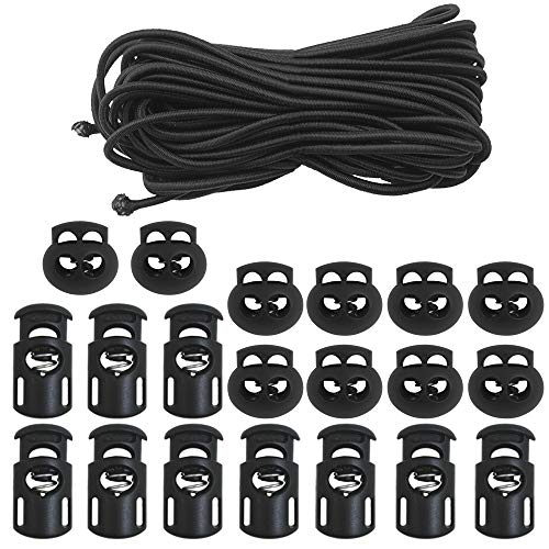 """DaKuan 20 PCS Plastic Cord Locks & Elastic Bungee Nylon Shock Cord 5/32"""" 50 ft Lengths, 10 PCS Sing-Hole, 10 PCS Double-Hole (Black) End Spring Toggle Stopper Slider with Crafting Stretch String"""