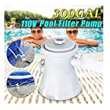 WAFamily Cartridge Filter Pump for Swimming Pools Above Ground Pool Pools Tool Filter Fit Electric Swimming Pool 2500 GPH Pump Flow Rate, 110-120V with GFCI (White)