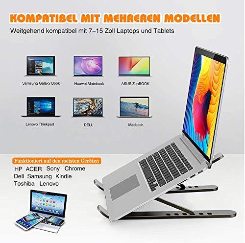 KABB Laptop Ständer, 6 Höhenverstellbar Tragbaren Laptop Stand, Faltbar Belüftet Notebook Computer Ständer Kompatibel mit Alle Laptops (Unter 17 Zoll), Phones, Tablets, Kostenloser Handy Ständer
