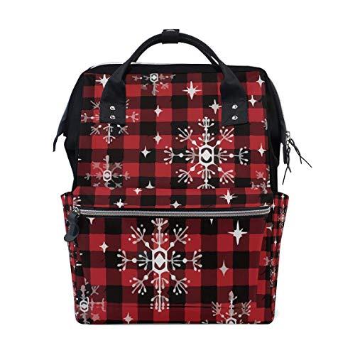 Wickeltasche mit Schneeflocken-Motiv, groß, für Reisen, Wickeltasche, Stillrucksack