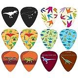 Creanoso Cool Dinosaur Guitar Pick (12-Pack) - Medium Gauge Celluloid - Unique Music Gifts & Stocking Stuffers for Men Him Husband Dad Boyfriend Son Boys Musician Father Day Gift