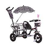TQJ Cochecito de Bebe Ligero Triciclo Niños, Doble Triciclo De Bicicletas, Doble Pedal Cochecito De Bebé con El Plegado, Asiento del Verano del Bebé Cochecito Doble Buggy For Niños De Edad 1-6 Años