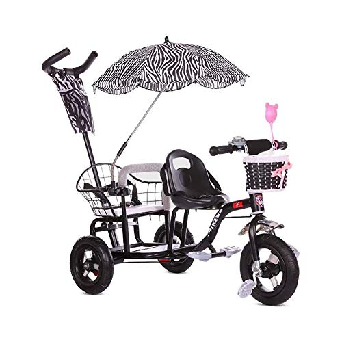 ZWJ-Kinder Dreirad Kinder-Trike, Doppel Dreirad Fahrrad, Twin Baby-Spaziergänger Mit Folding Pedal,...