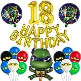 Kit de Decoracion Cumpleaños Globos Miotlsy30 Piezas de Teenage Mutant Ninja Turtles Globos Decoraciones de Cupcakes, Globos para Decoraciones de Fiesta