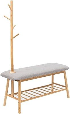 Amazon.com: Angels home Coat Rack, Solid Wood Shoe Bench ...