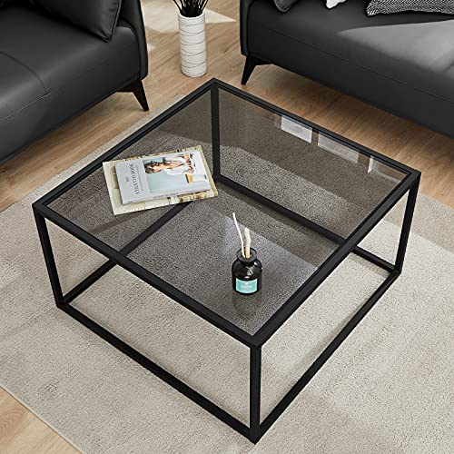 Saygoer Gray Glass Coffee Table for Living Room Square Modern Table Small Simple Tea Table 27.6 x 27.6 x 15.7 Inches
