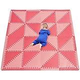 qqpp Alfombra Puzzle para Niños Bebe Infantil - Suelo de Goma EVA Suave. 32 Piezas (35*35*1cm), 16 Piezas De Borde Recto, Triángulo,Rojo. QQT-Iu32S16