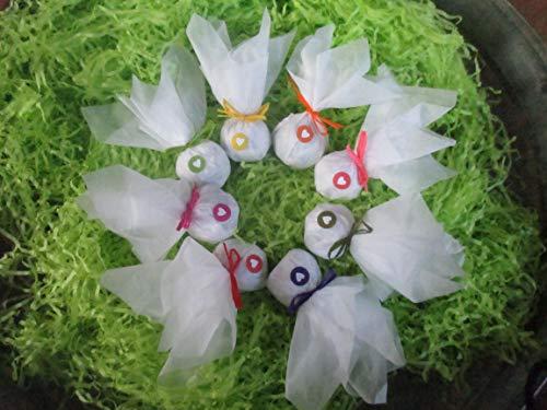 Die Seedball-Manufaktur Seedball als Gastgeschenk mit Herz, Weißes Seidenpapier mit bunt gemischten Bastschlei, 2,5 x 2,5 x 6 cm