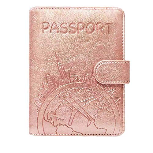 Passport Holder Leather Travel Wallet - RFID Blocking Passport Cover with Magnetic Button for Women Men By Talent (Rose Gold - Map)