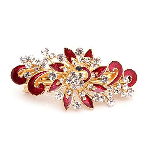 Five Season 1PC Piques et Epingles a Cheveux Crystal Accessoires Coreen Forme Paon Femme de Mode 8,5 *4cm Rouge