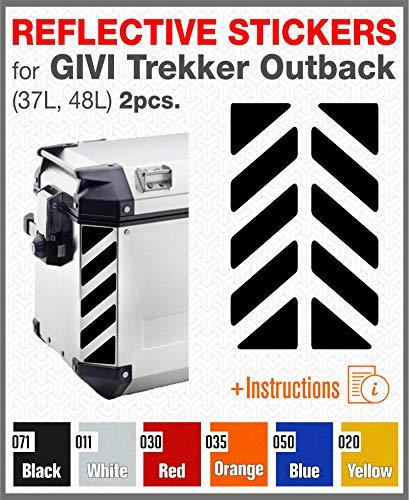 2pcs Adhesivos Reflectantes para GIVI Trekker Outback 37L 48L (Black)
