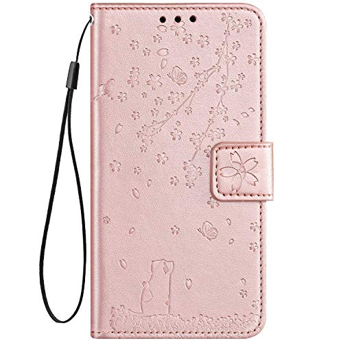 IKASEFU Compatible with Sony Xperia XA2 Case Pu Leather Wallet Strap Case Card Slots Shockproof Magnetic Kickstand Folio Flip Book Emboss Cute Cat Cherry Blossoms Cover Case Rose gold
