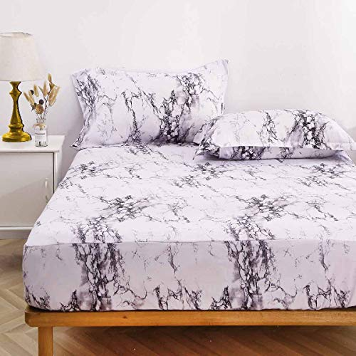 NANKO King Fitted Sheet 78x80 Deep Pocket Mattress Only Marble Printed Best Luxury Cool Soft Lightweight Microfiber Bedding Set 2 Pillowcases White Grey and Black 10 11 12 14 15 16 inch