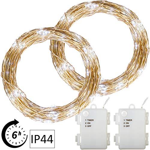 VOLTRONIC 2er Set 50 100 200 LED Lichterdraht Lichterkette, BATTERIEBETRIEBEN, mit Timer, für innen und außen, IP44, erhältlich in: warmweiß kaltweiß bunt warmweiß+kaltweiß, Batterie