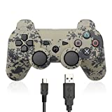 ElementDigital PS3 Controller Wireless Bluetooth PlayStation 3 Remote with Charger Cable (Camouflage Gray)