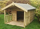 Pinelap 4x3 Quality Wooden Apex Dog Kennel + 2ft front veranda (6x3) - Pressure Treated T&G