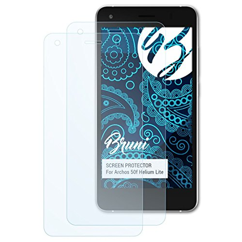 Bruni Schutzfolie kompatibel mit Archos 50f Helium Lite Folie, glasklare Bildschirmschutzfolie (2X)
