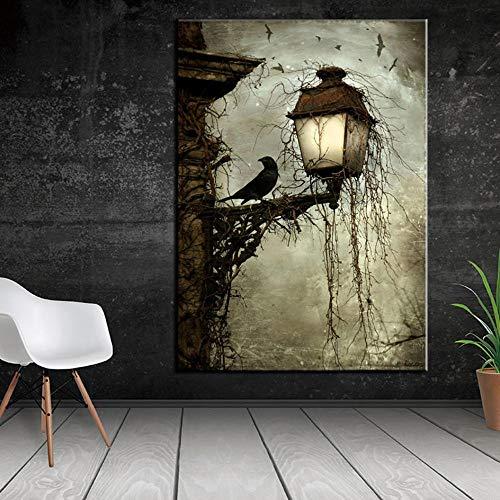 Wandbilder Leinwand Gemälde Aquarell Krähe Tier Nordic Poster und Drucke -50x70cm Unframe